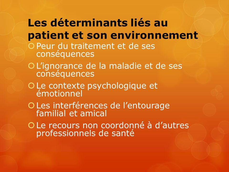 Les déterminants liés au patient et son environnement