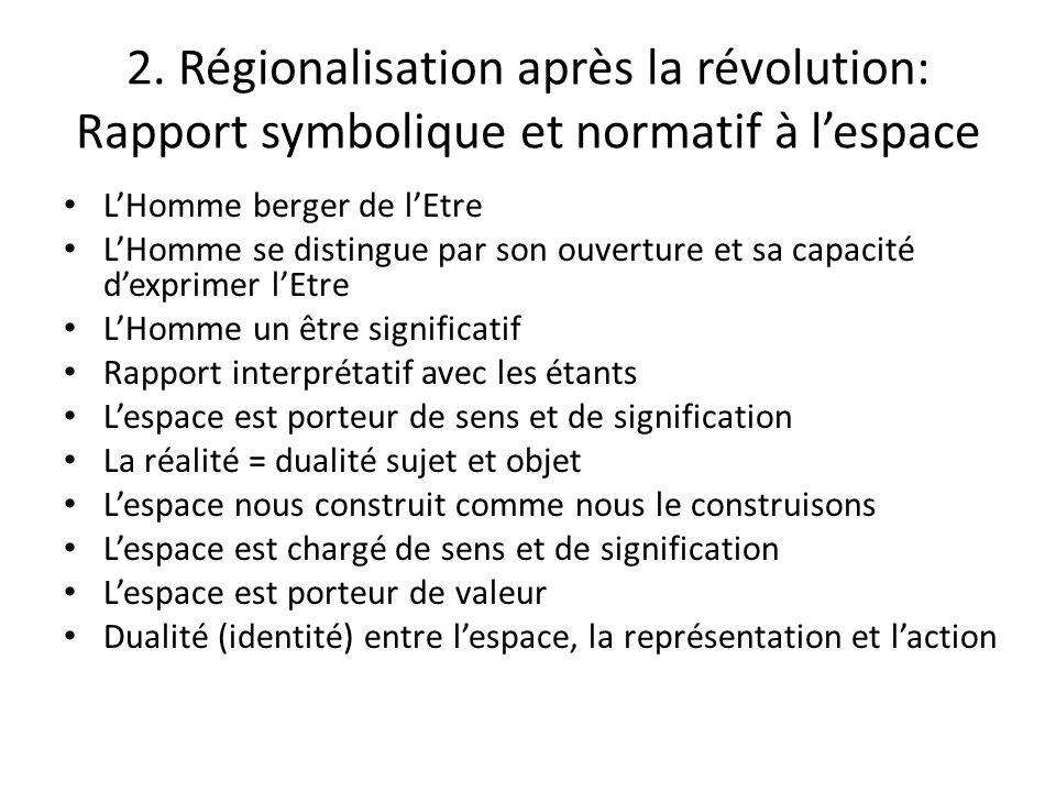 2. Régionalisation après la révolution: Rapport symbolique et normatif à l'espace