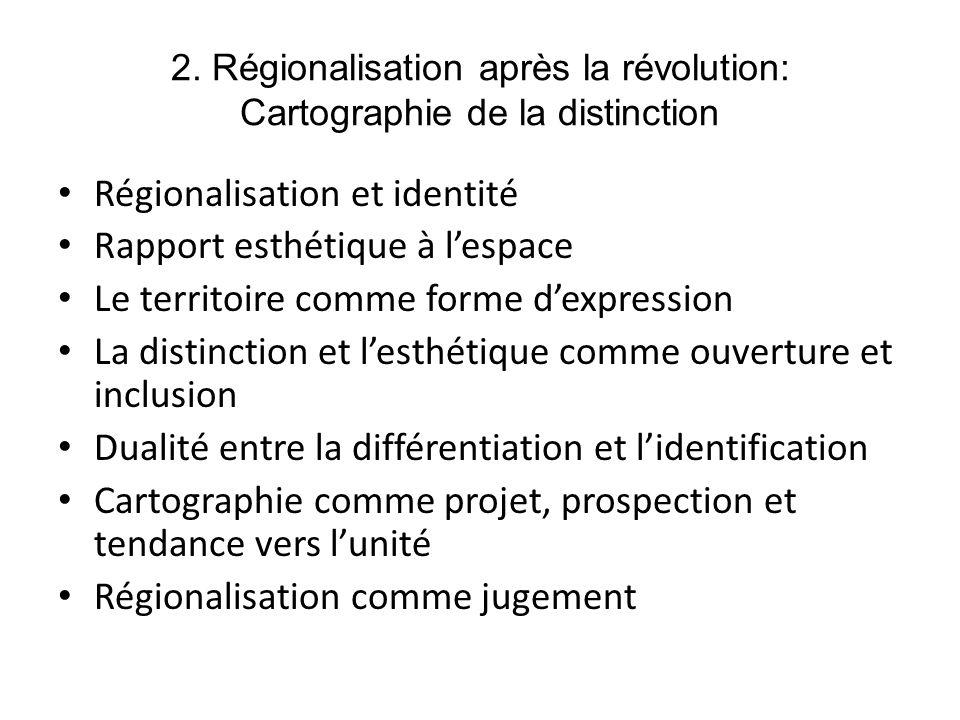 2. Régionalisation après la révolution: Cartographie de la distinction