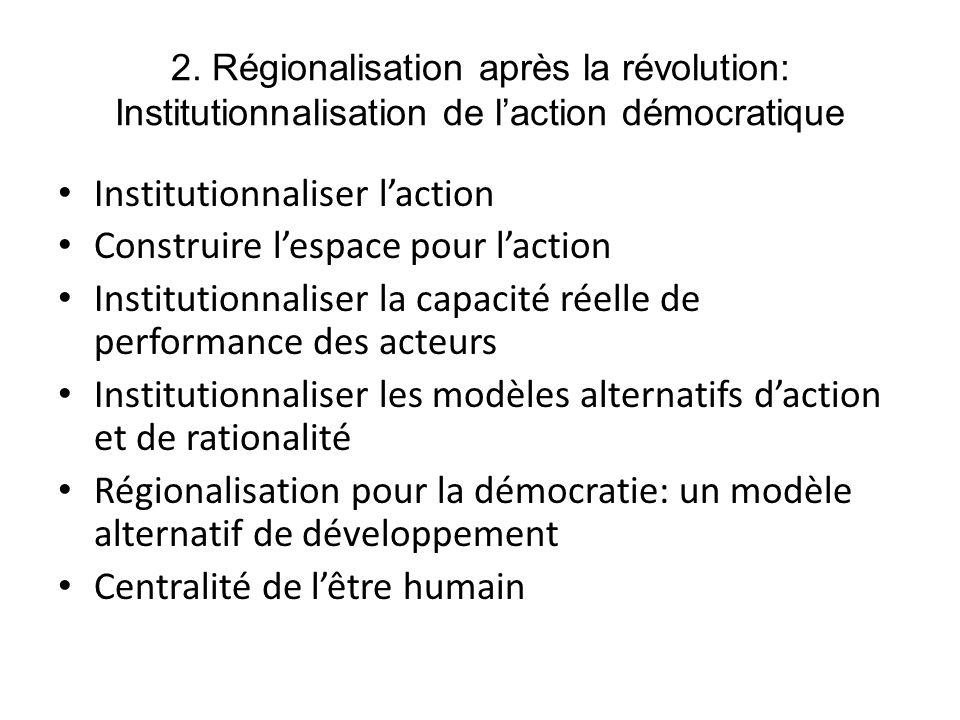 Institutionnaliser l'action Construire l'espace pour l'action