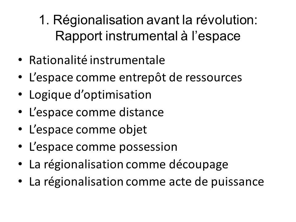 1. Régionalisation avant la révolution: Rapport instrumental à l'espace