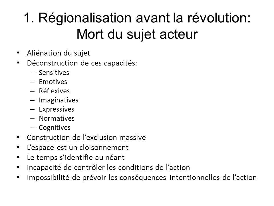 1. Régionalisation avant la révolution: Mort du sujet acteur