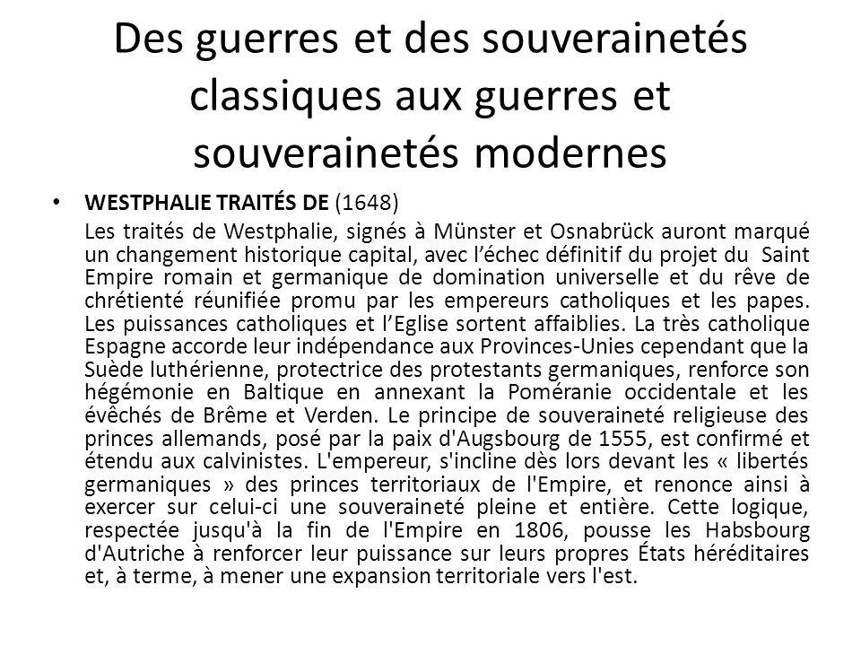 Des guerres et des souverainetés classiques aux guerres et souverainetés modernes