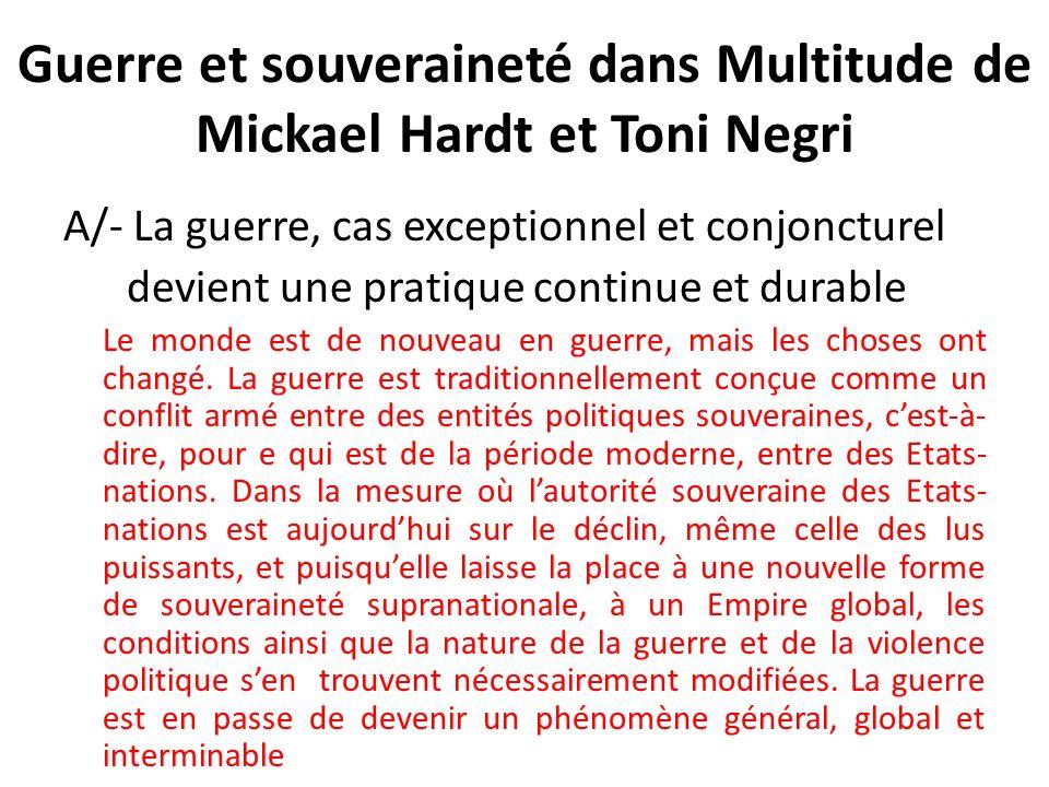 Guerre et souveraineté dans Multitude de Mickael Hardt et Toni Negri