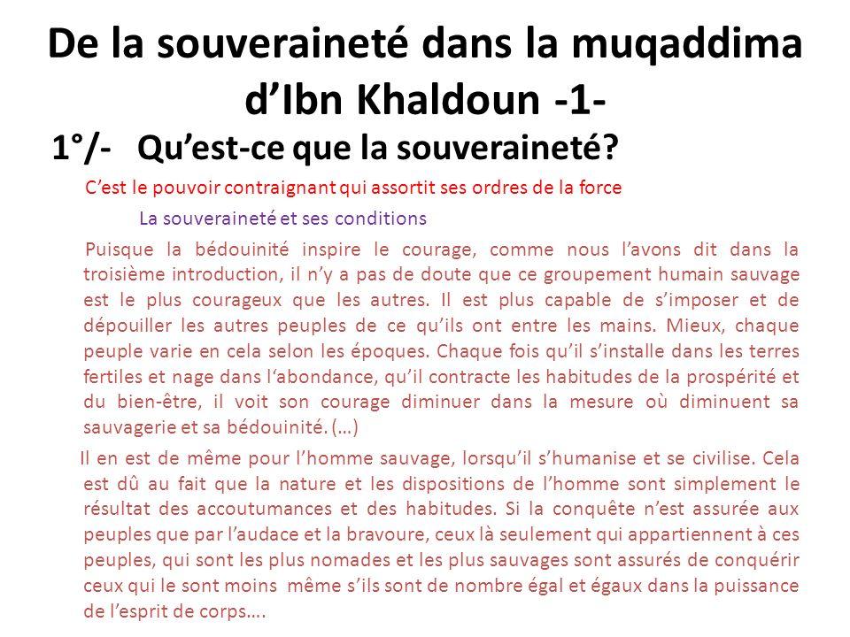 De la souveraineté dans la muqaddima d'Ibn Khaldoun -1-