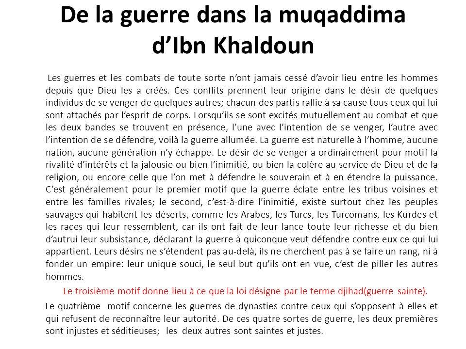 De la guerre dans la muqaddima d'Ibn Khaldoun