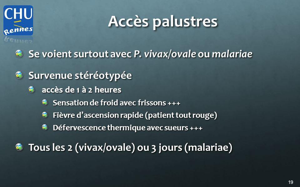 Accès palustres Se voient surtout avec P. vivax/ovale ou malariae