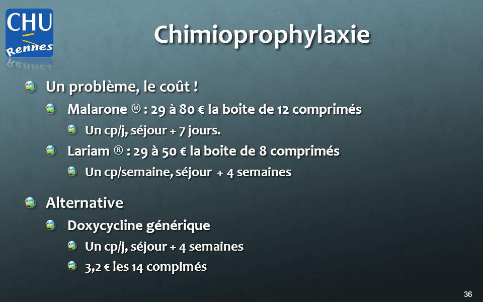 Chimioprophylaxie Un problème, le coût ! Alternative