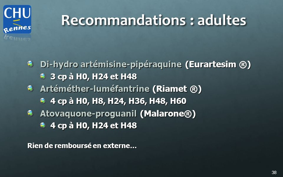 Recommandations : adultes