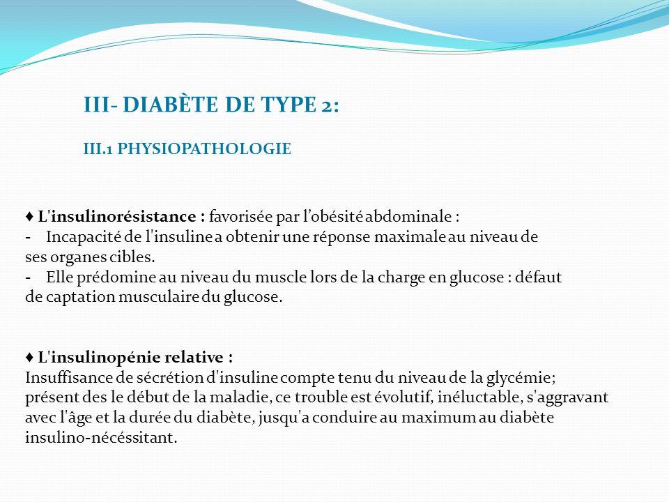 III- DIABÈTE DE TYPE 2: III.1 PHYSIOPATHOLOGIE