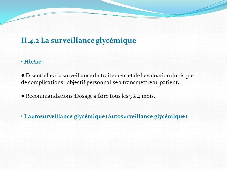 II.4.2 La surveillance glycémique