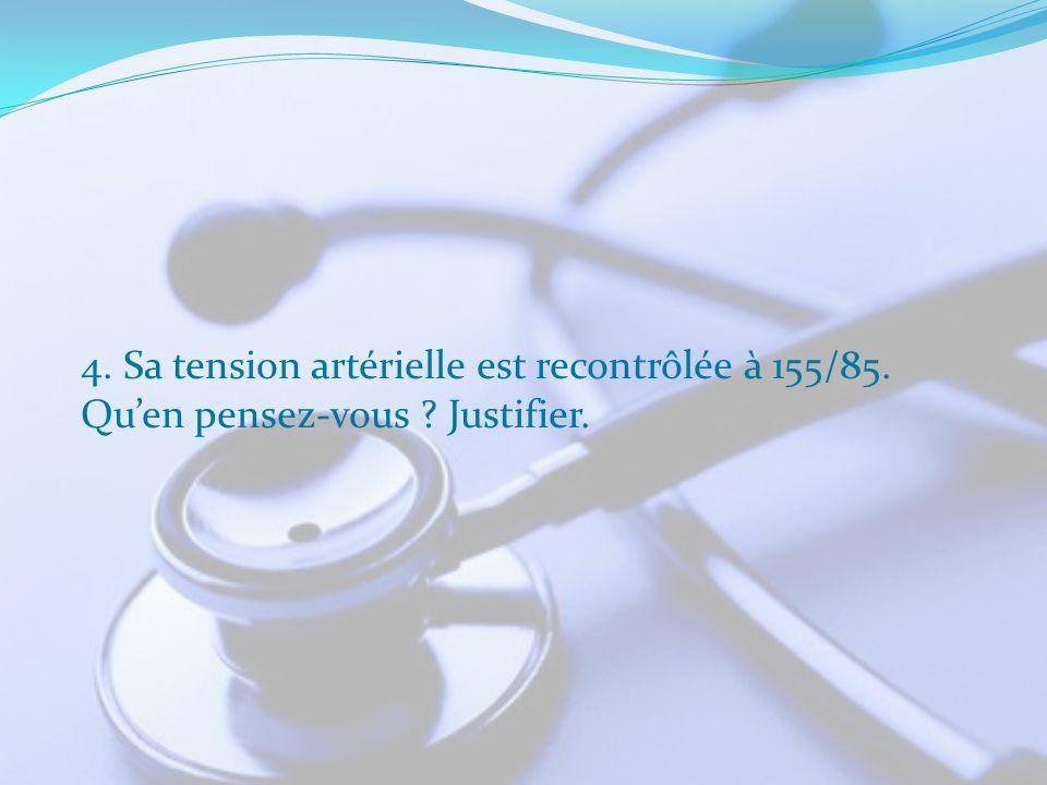 4. Sa tension artérielle est recontrôlée à 155/85.
