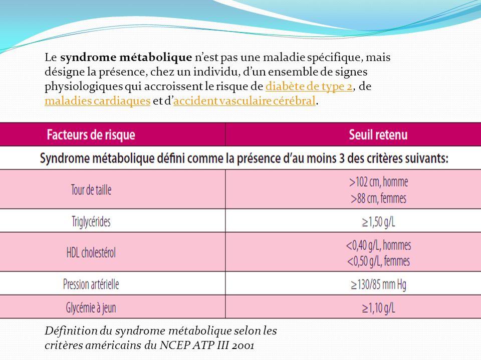 Le syndrome métabolique n'est pas une maladie spécifique, mais désigne la présence, chez un individu, d'un ensemble de signes physiologiques qui accroissent le risque de diabète de type 2, de