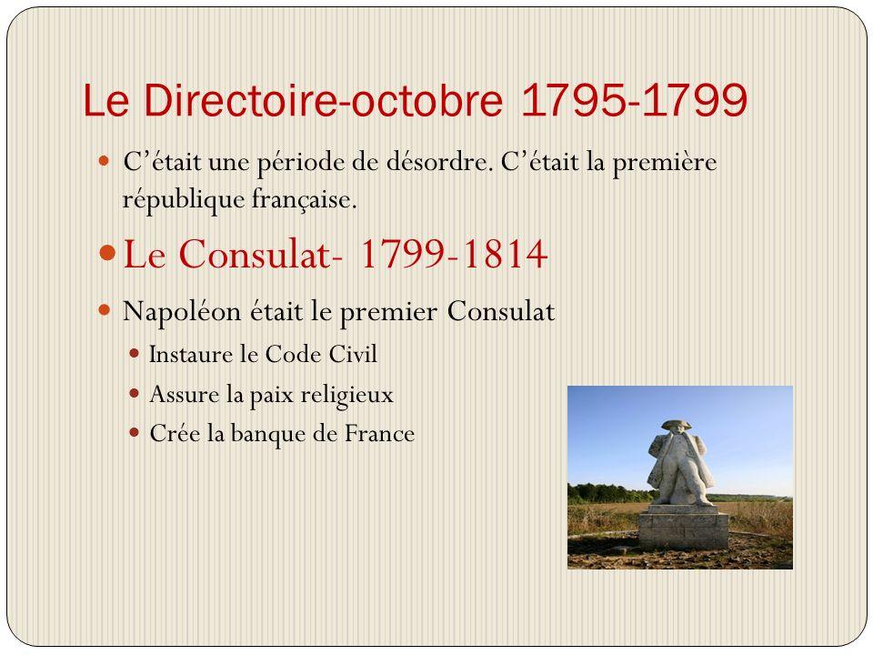 Le Directoire-octobre 1795-1799