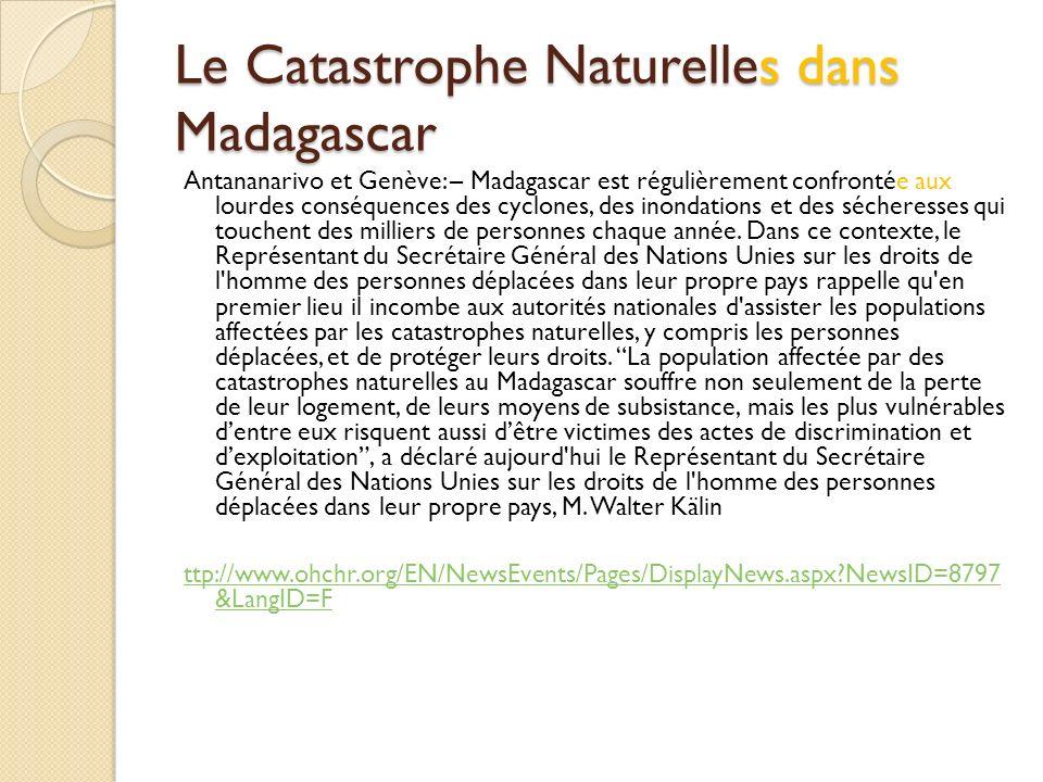 Le Catastrophe Naturelles dans Madagascar