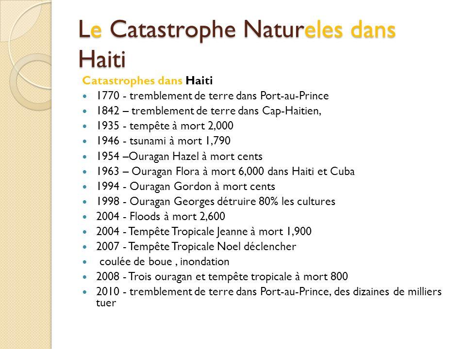 Le Catastrophe Natureles dans Haiti