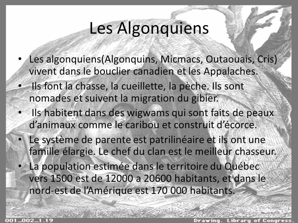 Les Algonquiens Les algonquiens(Algonquins, Micmacs, Outaouais, Cris) vivent dans le bouclier canadien et les Appalaches.