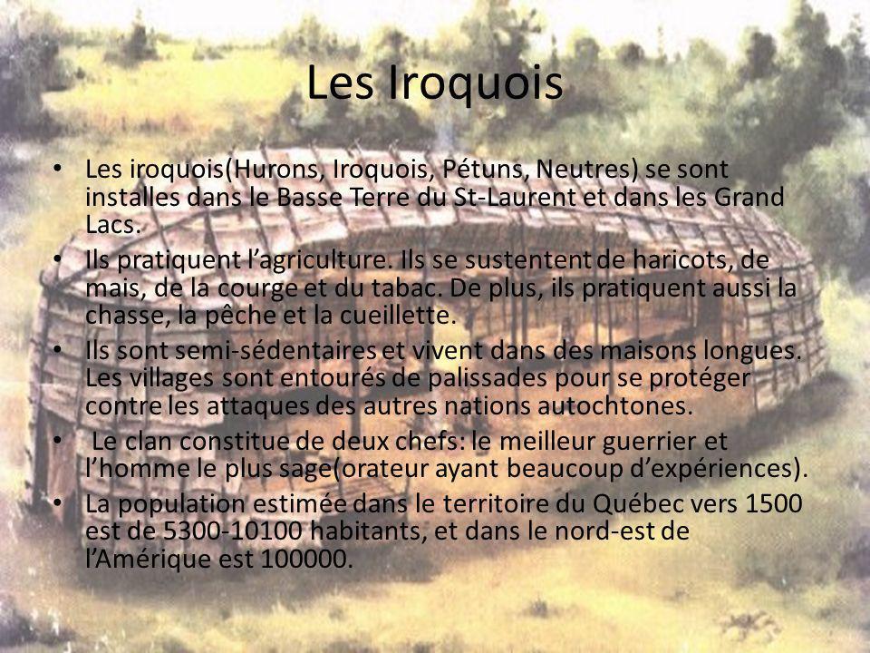 Les Iroquois Les iroquois(Hurons, Iroquois, Pétuns, Neutres) se sont installes dans le Basse Terre du St-Laurent et dans les Grand Lacs.