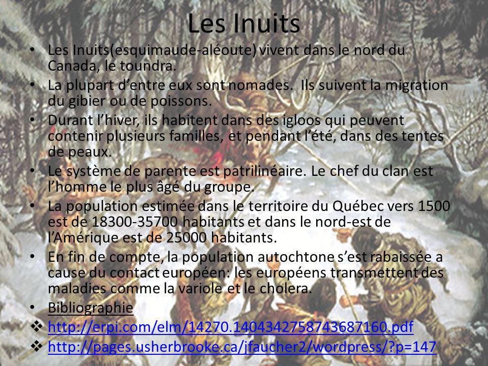 Les Inuits Les Inuits(esquimaude-aléoute) vivent dans le nord du Canada, le toundra.