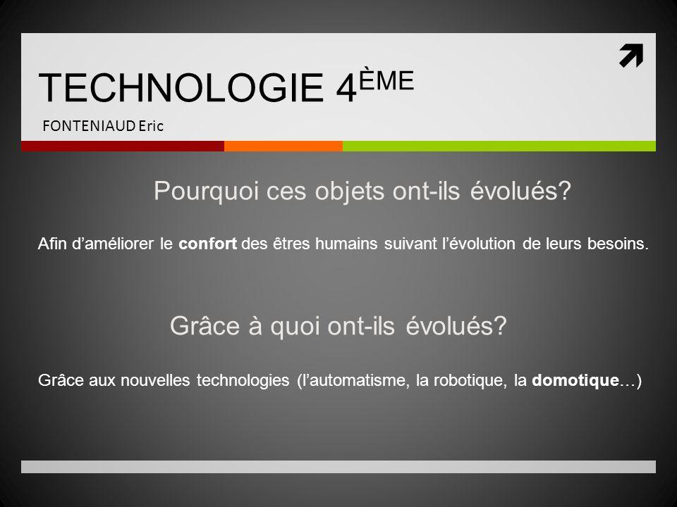 TECHNOLOGIE 4ÈME Pourquoi ces objets ont-ils évolués