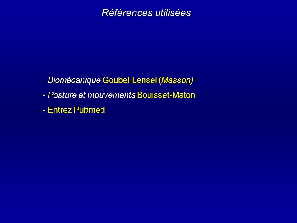 Références utilisées - Biomécanique Goubel-Lensel (Masson)