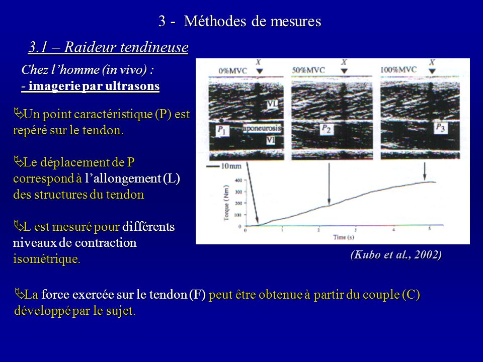 3 - Méthodes de mesures 3.1 – Raideur tendineuse