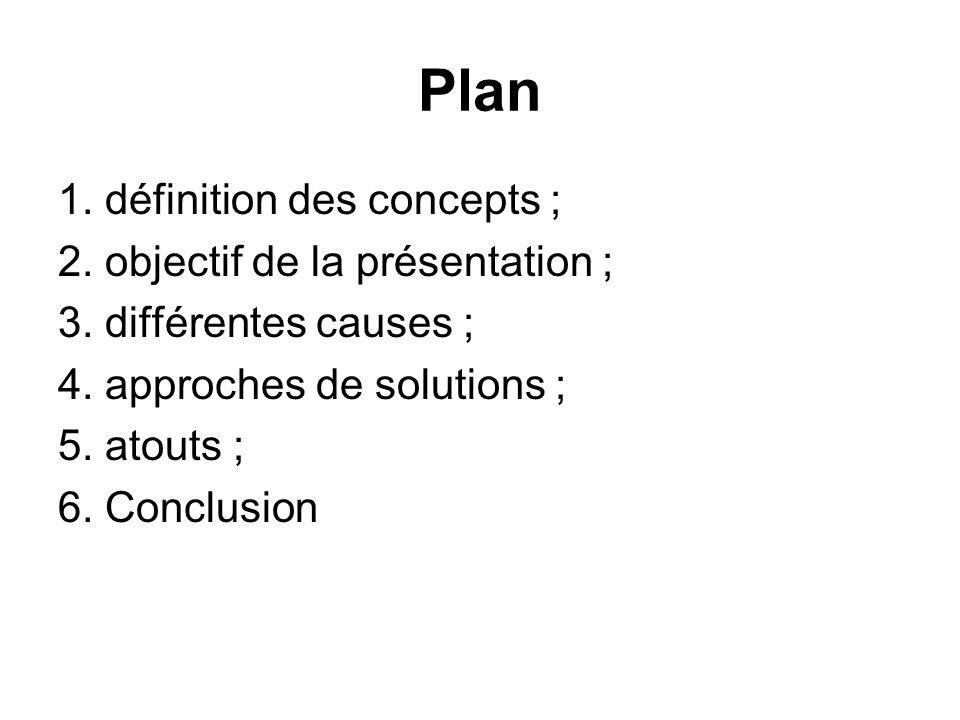 Plan 1. définition des concepts ; 2. objectif de la présentation ;