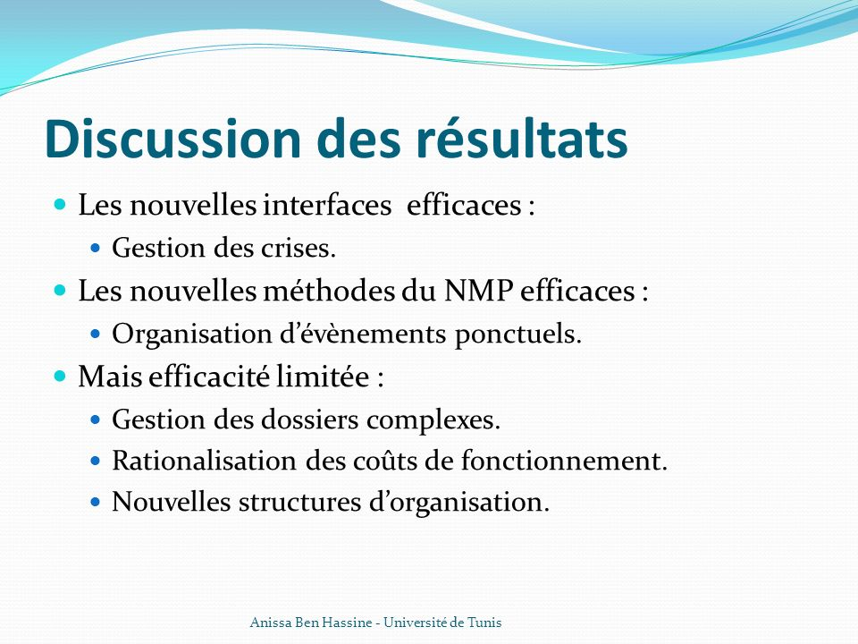 Discussion des résultats