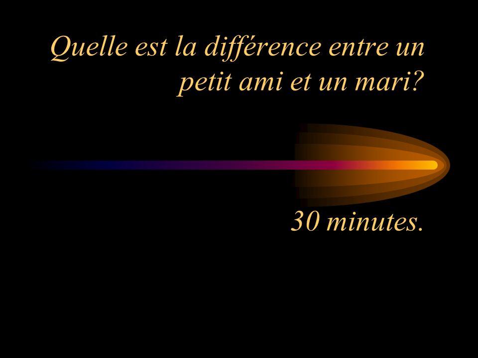 Quelle est la différence entre un petit ami et un mari 30 minutes.
