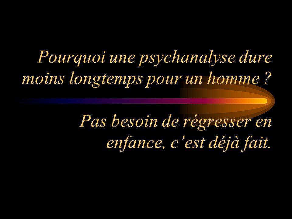 Pourquoi une psychanalyse dure moins longtemps pour un homme