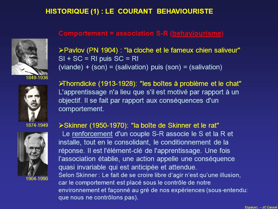HISTORIQUE (1) : LE COURANT BEHAVIOURISTE