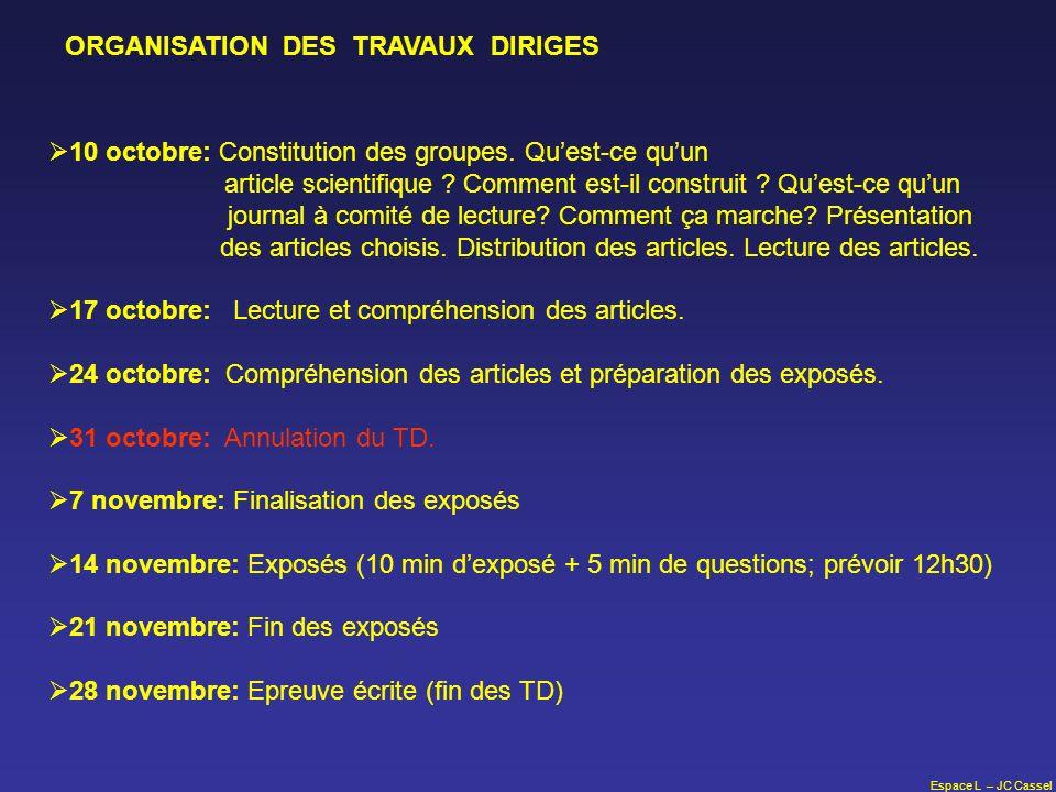 ORGANISATION DES TRAVAUX DIRIGES