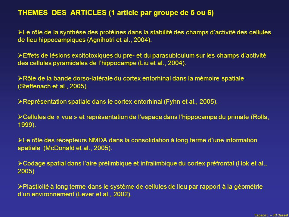 THEMES DES ARTICLES (1 article par groupe de 5 ou 6)