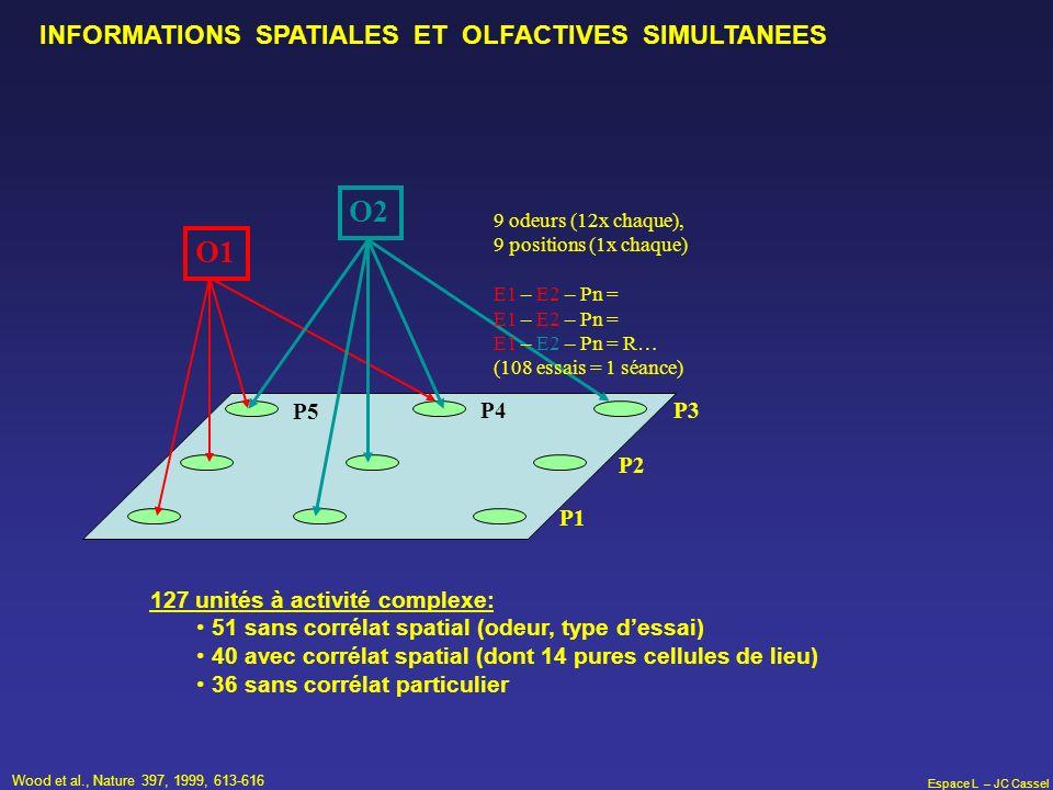O2 O1 INFORMATIONS SPATIALES ET OLFACTIVES SIMULTANEES P5 P4 P3 P2 P1