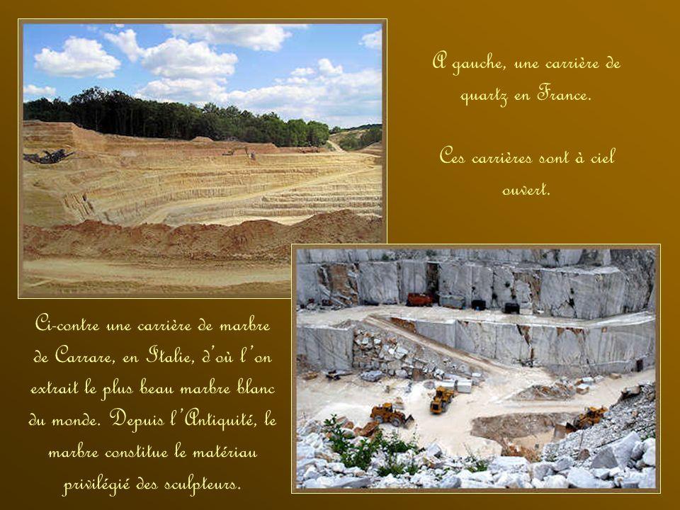 A gauche, une carrière de quartz en France.