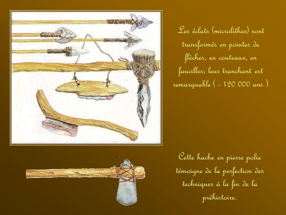 Les éclats (microlithes) sont transformés en pointes de flèches, en couteaux, en faucilles; leur tranchant est remarquable ( - 120 000 ans )