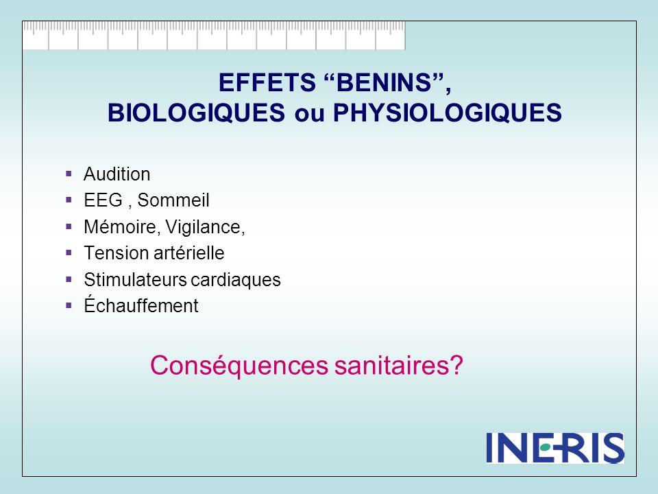 EFFETS BENINS , BIOLOGIQUES ou PHYSIOLOGIQUES