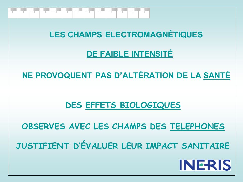 LES CHAMPS ELECTROMAGNÉTIQUES DE FAIBLE INTENSITÉ