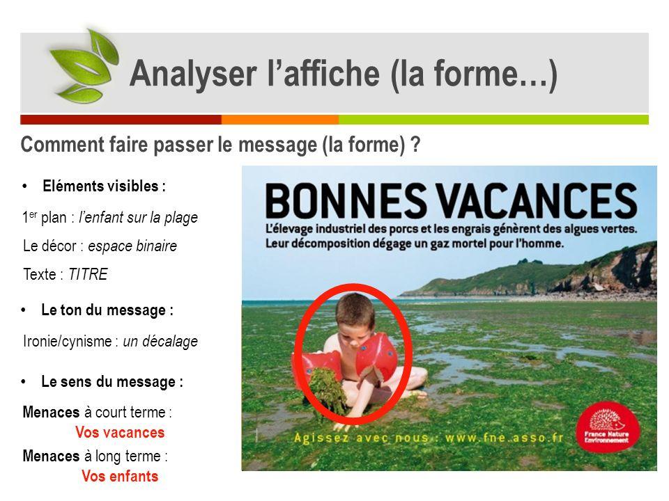 BONNES VACANCES Analyser l'affiche (la forme…) … la mer inexistante