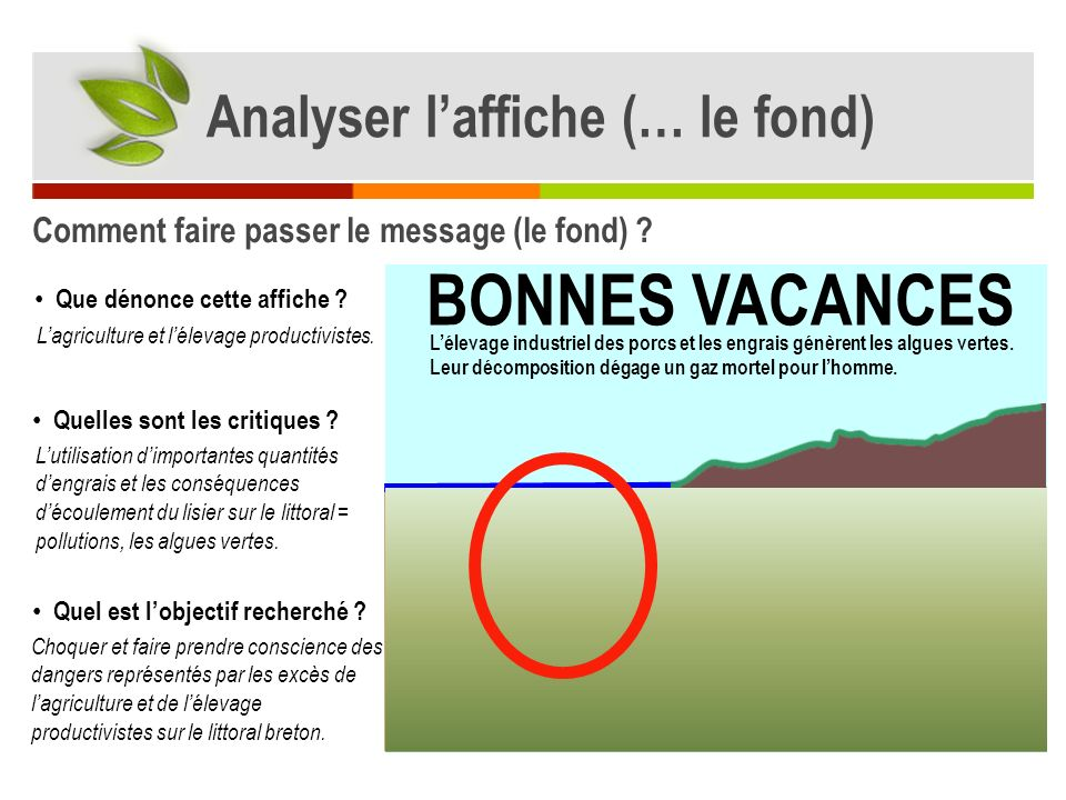 BONNES VACANCES Analyser l'affiche (… le fond)