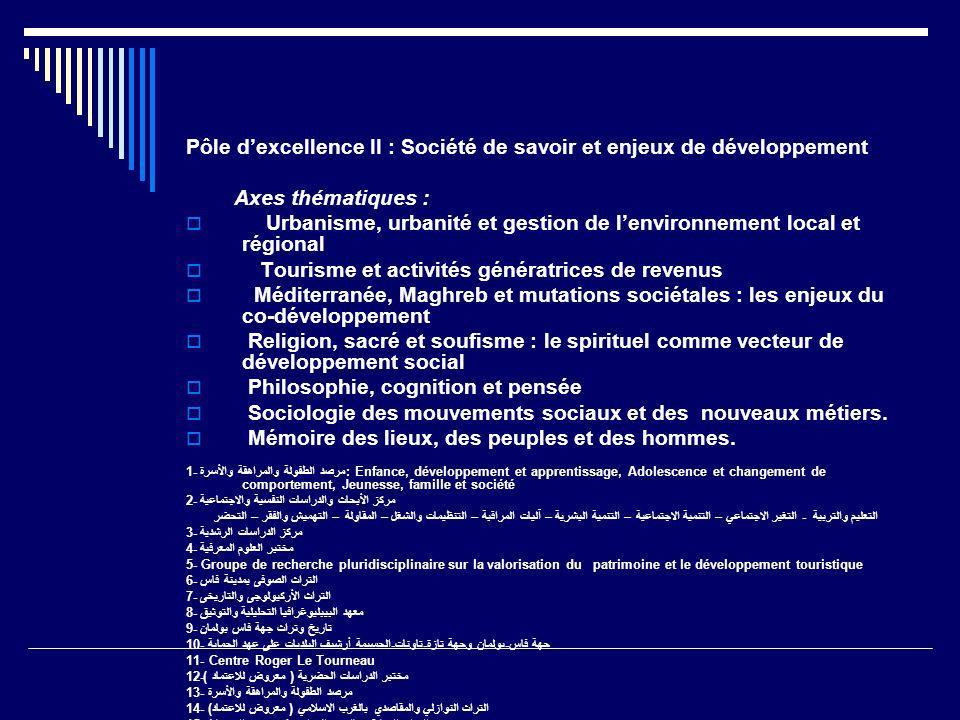Pôle d'excellence II : Société de savoir et enjeux de développement