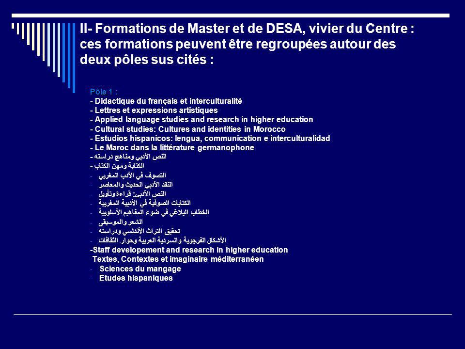 II- Formations de Master et de DESA, vivier du Centre : ces formations peuvent être regroupées autour des deux pôles sus cités :