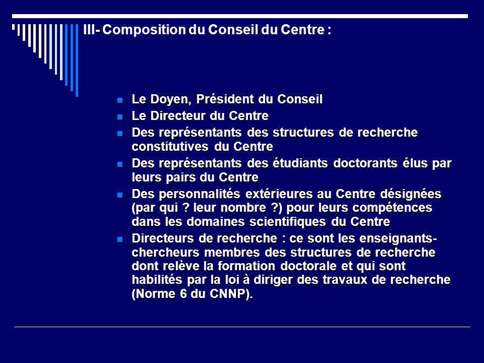III- Composition du Conseil du Centre :