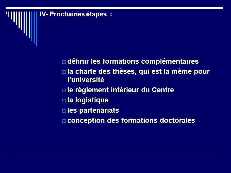 IV- Prochaines étapes :