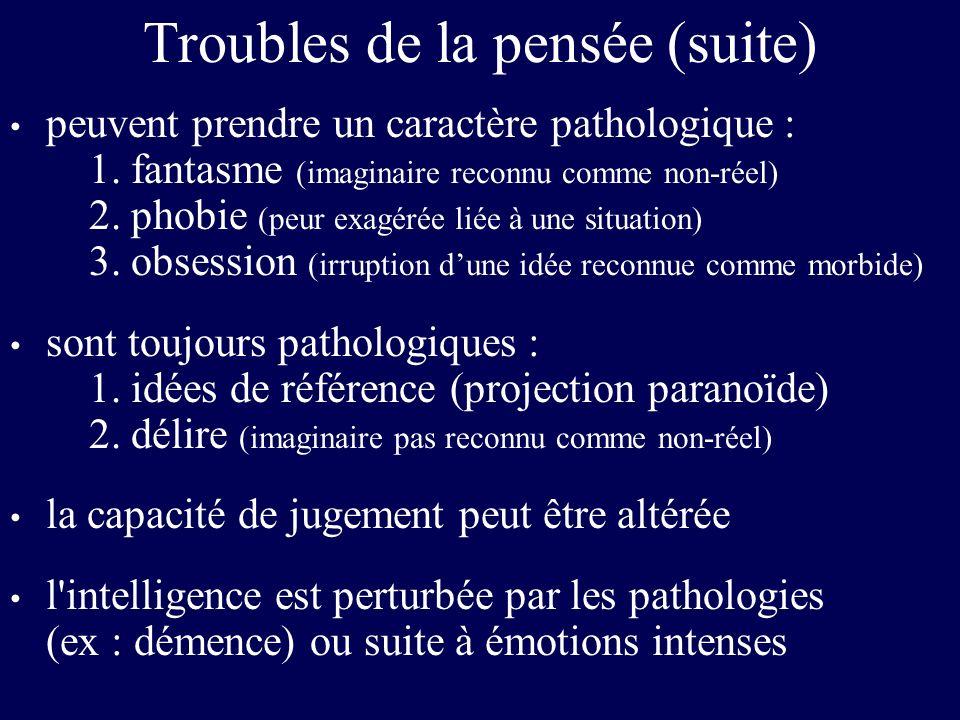 Troubles de la pensée (suite)