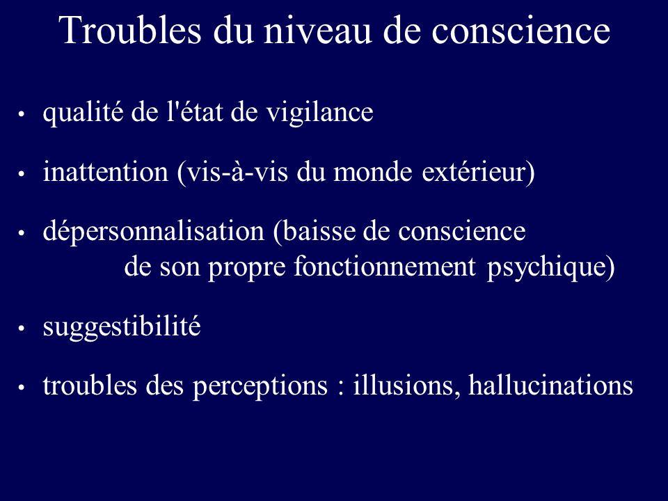Troubles du niveau de conscience