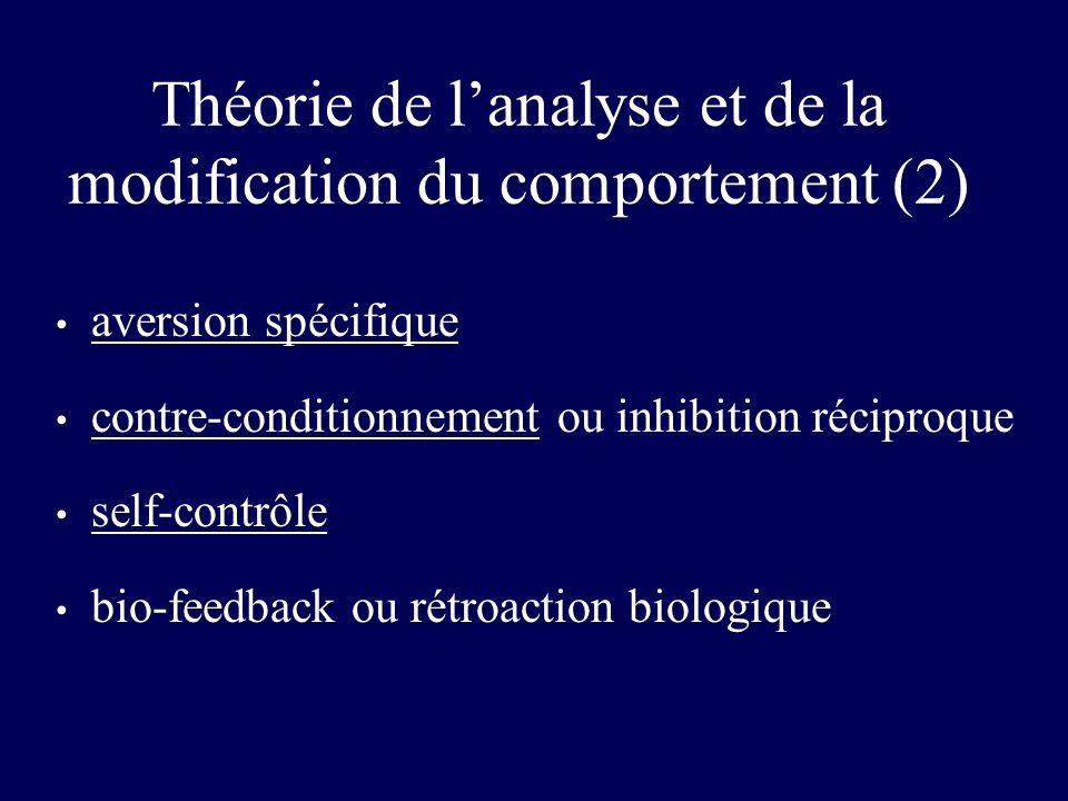 Théorie de l'analyse et de la modification du comportement (2)