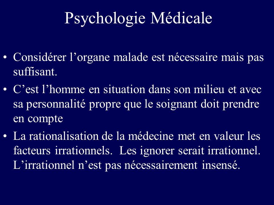 Psychologie Médicale Considérer l'organe malade est nécessaire mais pas suffisant.
