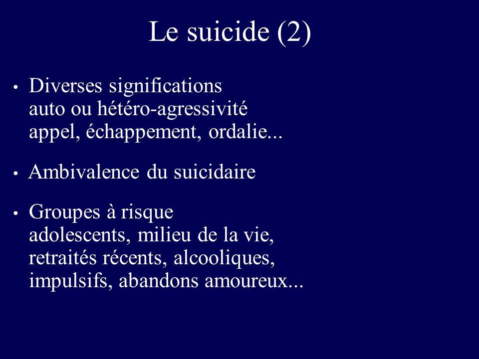 Le suicide (2) Diverses significations auto ou hétéro-agressivité appel, échappement, ordalie...
