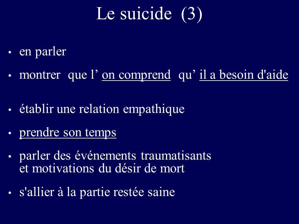 Le suicide (3) en parler. montrer que l' on comprend qu' il a besoin d aide. établir une relation empathique.